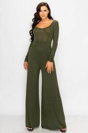 U Neck long sleeve solid jumpsuit.