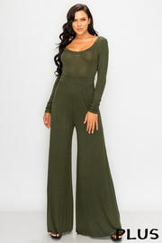 Plus Size U Neck long sleeve solid jumpsuit.