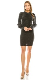 Solid mini dress with stretch inside lined.