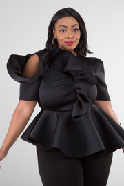 Plus Size Cold shoulder short sleeve asymmetry peplum top.