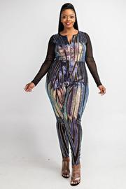 Plus Size Patterned sequins zip front jumpsuit.