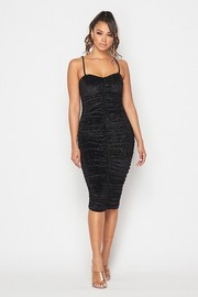 Sparkly velvet ruched midi dress.