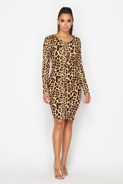 Animal printed long sleeve knee length dress.