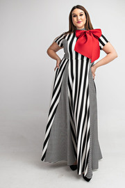 Plus Size Short slv mock neck maxi dress with bow.