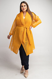 Plus Size Long slv wrap jacket with waist tie.