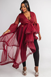 Plus Size Surplice cascade ruffle dress.