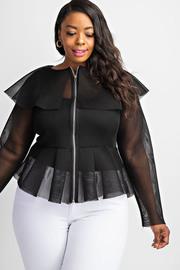 Plus Size Peplum long sleeve zip-front jacket.