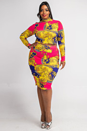 Plus Size Long slv top and mid skirt set.