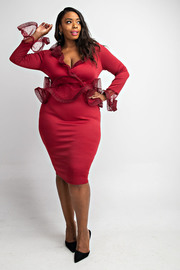 Plus Size Ruffle detailed long slv knee dress.