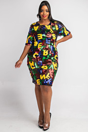 Plus Size Alphabet sequins T short dress.