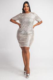 Plus Size Sequins front T Shirt dress.