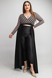 Plus Size Long slv surplice top with maxi flowy bottom.
