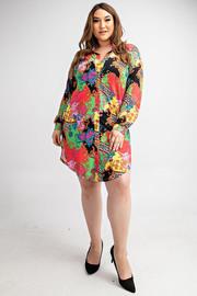 Plus Size Long slv button down shirt dress.