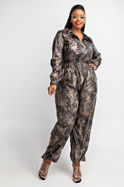 Plus Size long slv zip-front jumpsuit.