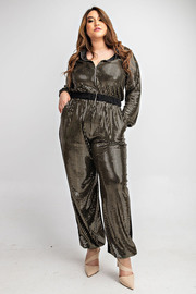 Plus Size Long slv zip front jumpsuit.