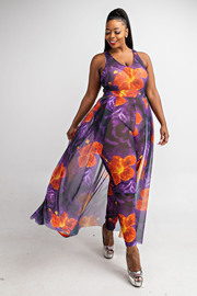Plus Size Sleeveless jumpsuit with maxi bottom.