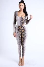 Foiled snake printed bodysuit leggings set.