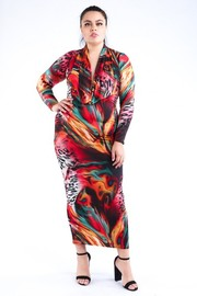 Plus Size Printed cowl neck maxi dress.