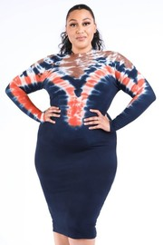 Plus Size Body con long sleeve tie die dress.
