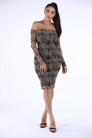 Animal printed off shoulder dress.