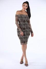 Animal printed off shoulder dress.