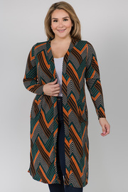 Printed Long Sleeve Cardigan with Pockets