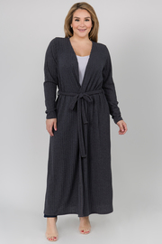 Ribbed Long Sleeve Cardigan with Waist Belt
