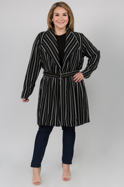 Striped Long Sleeve Coat with Waist Belt
