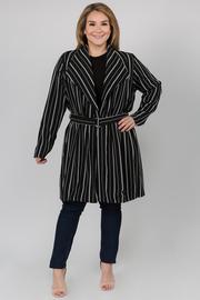 Striped Long Sleeve Coat with Waist Belt
