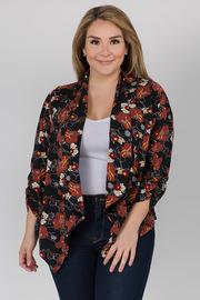 Short Long Sleeve Cardigan with Floral Print