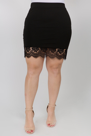 Solid Skirt with Lace Detail in the bottom