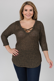 3/4 Sleeve Metallic Top With V neck with strings across