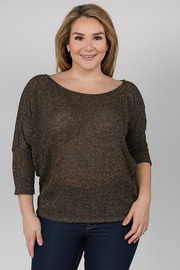 Boat neck Top with 3/4 sleeves