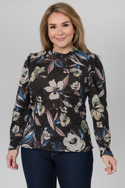 Printed Long Sleeve top with a High Neck