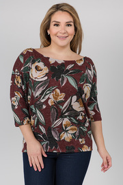 Printed Floral Boat neck Top with 3/4 sleeves