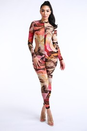 Animal mesh cutout jumpsuit with bikini.