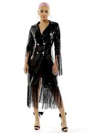 Fringed sequin double breasted buttoned frock coat.