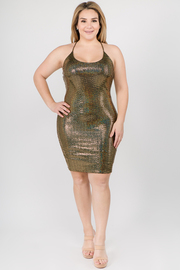 Plus Size Sleeveless Midi Dress with Sequin Detail