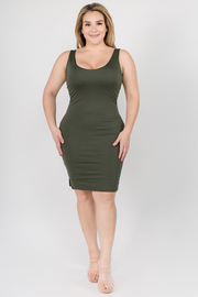Plus Size Solid Sleeveless Midi Dress with Slits on the side
