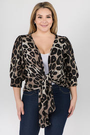 Plus Size Leopard Print Blouse with Knot Tie
