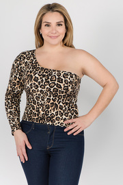 Plus Size One Shoulder Leopard Print Top