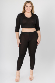 Plus Size 2 piece set  hoodie crop top & leggings pant set.