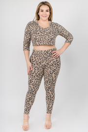 Plus Size Leopard hoodie crop top & legging pants set.