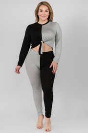 Plus Size Color Block sweater leggings lounge sets.