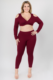 Plus Size Plain sweater crop top high leggings set.