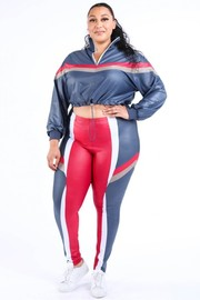 Plus Size Color block windbreaker set.
