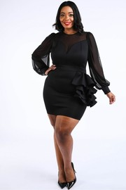 Plus Size Tiered ruffle waist mini dress.