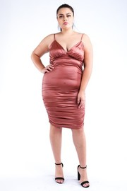 Plus Size Ruched PU Dress.