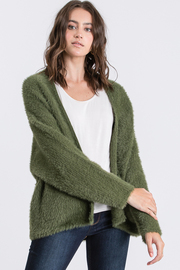 Solid long sleeve sweater cardigan.