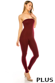 Plus Size Solid tube jumpsuit.